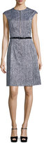 Michael Kors Cap-Sleeve Belted A-Line Dress, Optic White/Black