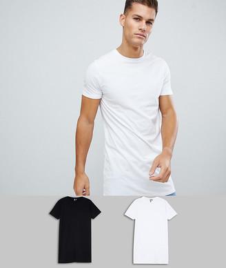 Asos Design DESIGN 2 pack super longline t-shirt with crew neck save-Multi