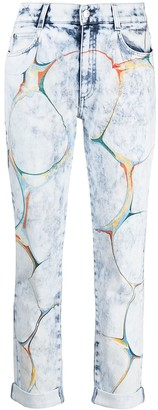 Stella McCartney Marbled-Pattern Straight-Leg Jeans