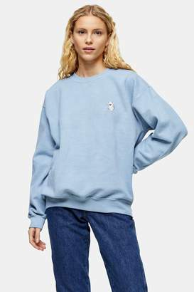 Topshop Womens Light Blue Koala Emoji Sweatshirt - Blue
