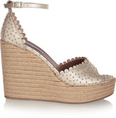 Tabitha Simmons Harp metallic perforated leather espadrille wedge sandals
