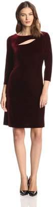Donna Morgan Women's 3/4 Sleeve Velvet Shift Dress