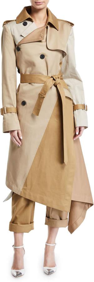 Monse Two-Tone Patchwork Khaki Twisted Trench Coat