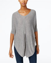 NY Collection Heather-Knit Pleat-Front Poncho Top