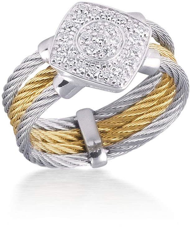 Alor Triple-Row Micro-Cable Pave Diamond Ring, Size 6.5