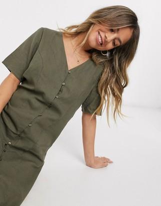 JDY Tokio midi button through tea dress in green