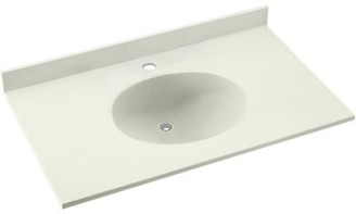 "Swan Ellipse Solid Surface 25"" Single Bathroom Vanity Top Top Finish: Bisque"