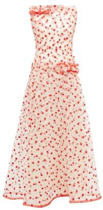 Rodarte Flocked Heart-pattern Tulle Maxi Dress - Womens - Red Multi