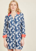 YMSP009FB Kickstart your day the quirky way - by rolling out of bed in this navy nightshirt! Exclusive to ModCloth, these Frenchie-printed jammies energize you in the morning - and help you relax in the evening - with soft knit fabric, a dotted-red collar and cuffs