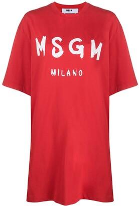 MSGM logo-print oversized T-shirt dress
