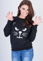 Missy Empire Samara Black Cat Face Sweatshirt