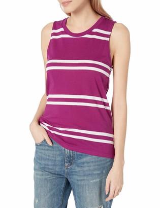 Tresics Women's Trendy Basic Junior Sleeveless Round Neck Striped Tank Top