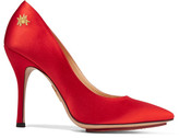 Charlotte Olympia Bacall Embellished Satin Pumps - Red