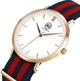Fendior Men's Ultra Slim Case Wrist Watches With Nylon Strap(Rose Gold)