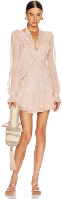 Jonathan Simkhai Stripe Georgette Ruffle Dress in Pink Sand | FWRD