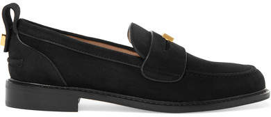 Stuart Weitzman Crome Studded Suede Loafers - Black