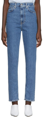 Helmut Lang Blue Denim Faded Hi Femme Spikes Jeans