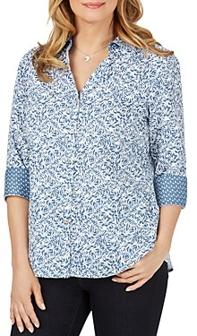 Foxcroft Mary Wrinkle-Free Printed Top