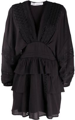 IRO Lace-Insert Ruffle-Trimmed Mini Skirt