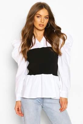 boohoo Rib Panel Contrast Puff Sleeve Shirt