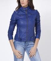 Blue Faux-Leather Moto Jacket