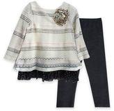 Pippa & Julie 3-Piece Stripe Flower Sweater Set in Cream