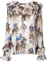MSGM polo print blouse - women - Polyester - 42
