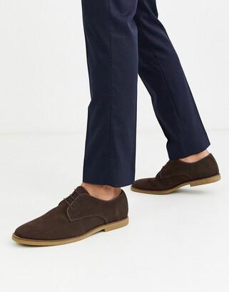 Topman suede derby shoes in brown