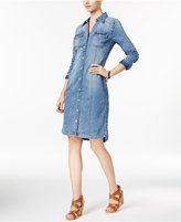 INC International Concepts Embroidered Denim Shirtdress, Created for Macy's
