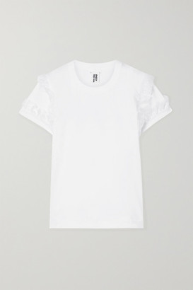 Noir Kei Ninomiya Ruffled Layered Stretch-cotton Jersey And Organza T-shirt - White