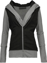 Norma Kamali Striped stretch-jersey hooded top