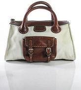 Chloé White Brown Leather Zipper Top Edith Satchel Tote Handbag