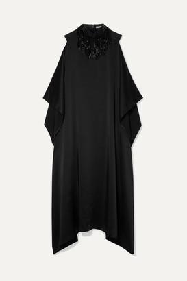 Christopher Kane Oversized Beaded Satin Maxi Dress - Black