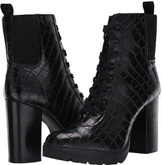 Steve Madden Latch Combat Boot (Black Croco) Women's Boots