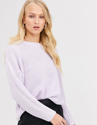 Only rib knitted jumper-Purple