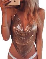 Multitrust Sexy Women Deep V Backless Halter Sequin Swimsuit Bikini Top Crop Tank Top