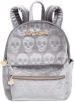 Betsey Johnson Small Velvet Skull Backpack