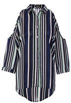 Quiz Navy And Mint Crepe Stripe Cold Shoulder Shirt