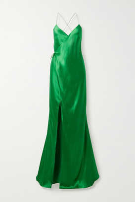 Mason by Michelle Mason Open-back Silk-satin Wrap Gown - Green