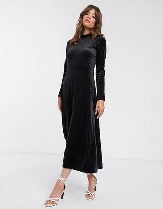 InWear Oriel mock neck a-line velvet maxi dress-Black