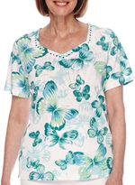 Alfred Dunner Short-Sleeve Butterfly Print Top