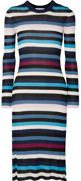 Altuzarra Stills Striped Ribbed Stretch-knit Midi Dress - Navy