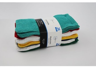 Mainstays Cotton Washcloth Bundle Collection, 24 Pack, True Bright
