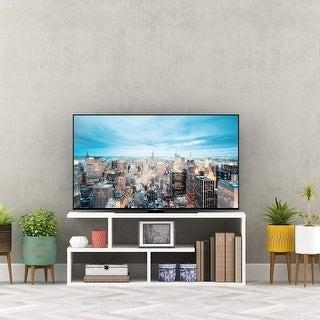 Pyramid Home Dcor Pyramid Home Decor Asymmetric TV Stand Media Unit with 4 Open Shelves