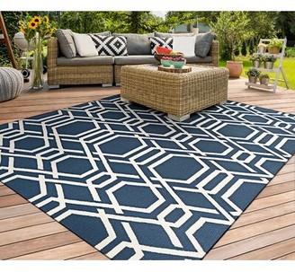Breakwater Bay Marshfield Ariatta Hand-Woven Navy/Ivory Indoor/Outdoor Area Rug Rug Size: Rectangle 2' x 4'