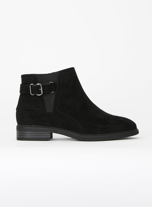 Evans EXTRA WIDE FIT Black Buckle Strap Chelsea Boots