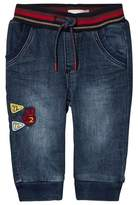 Catimini Mid Wash Pull Up Jeans with Stripe Waistband