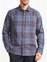 John Lewis Contrast Slub Check Shirt, Navy