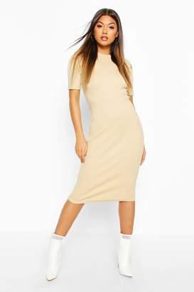 boohoo Rib Pleated Sleeve Midi Dress