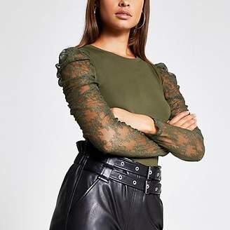 River Island Khaki lace long sheer puff sleeve T-shirt
